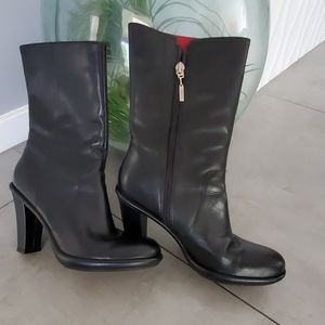 Tommy Hilfiger Black Upper Leather Boots 7 1/2